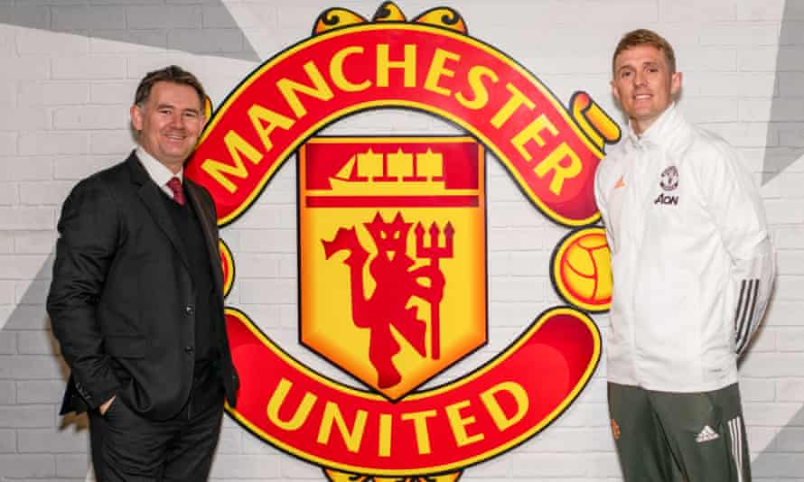 John Murtough and Darren Fletcher pose after being named football director and technical director of Manchester United.
