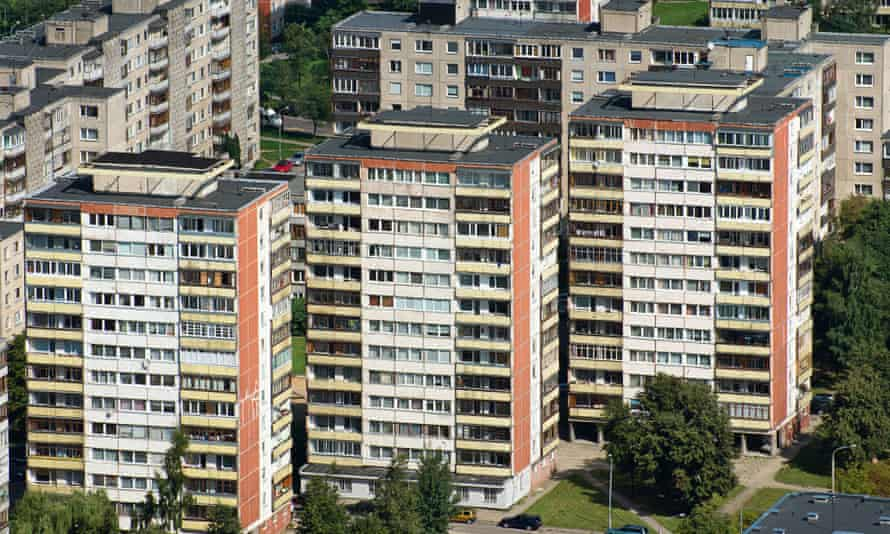 Aerial view on residential blocks of flats in Vilnius, Lithuania.