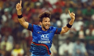 Afghanistan captain Gulbadin Naib celebrates at the Asia Cup