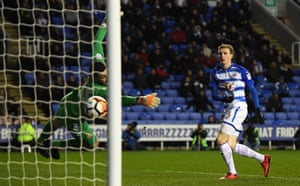Jon Dadi Bodvarsson fires the ball past Stevenage goalkeeper Tom King.