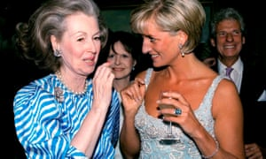 Raine Spencer, left, with Diana, Princess of Wales, her stepdaughter during her marriage to Earl Spencer, at a private viewing at the auctioneer's Christies of dresses worn by the princess to be sold in aid of the Aids Crisis Trust and the Royal Marsden hospital cancer fund, in 1997.