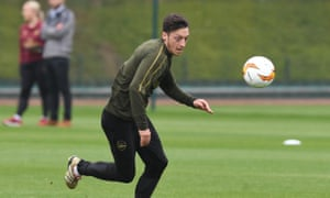 Mesut Özil prepares for the first leg of Arsenal's Europa League semi-final against Valencia on Thursday.