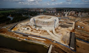 A general view of the construction site of the Mordovia Arena.
