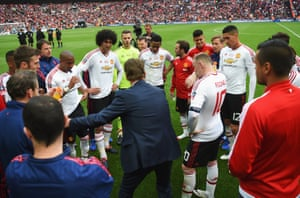 United boss Louis van Gaal Manager gives instructions to his players before the start of extra time.