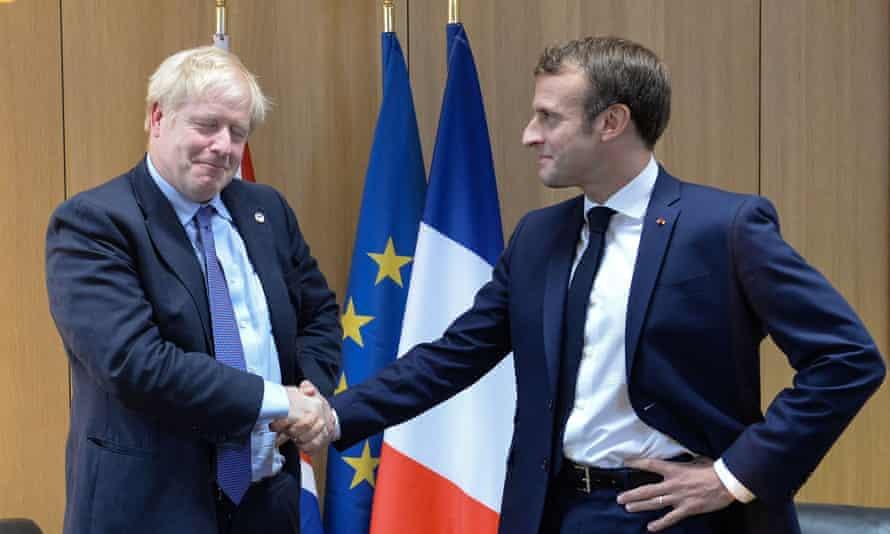 Boris Johnson poses with French president Emmanuel Macron on Thursday