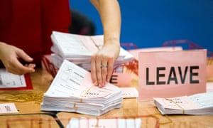 Votes for leave being counted in Belfast.