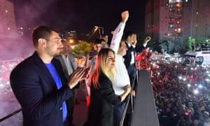 Ekrem İmamoğlu celebrates in front of thousands of supporters in Istanbul