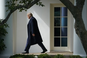 Donald Trump exits the Oval Office and walks to Marine One on the South Lawn of the White House.