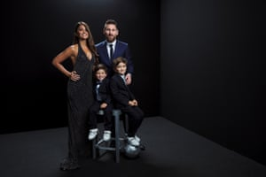 Lionel Messi with wife Antonella Roccuzzo and sons Mateo and Ciro.