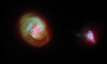 A 3D map showing the Large Magellanic Cloud (left) and the Small Magellanic Cloud made by astronomers using data from the European Space Agency Gaia satellite.
