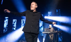 'McCluskey's dancing hasn't so much as improved as become more exaggerated and outrageous' ... Andy McCluskey of OMD at the Barbican, York, 27 October 2019.