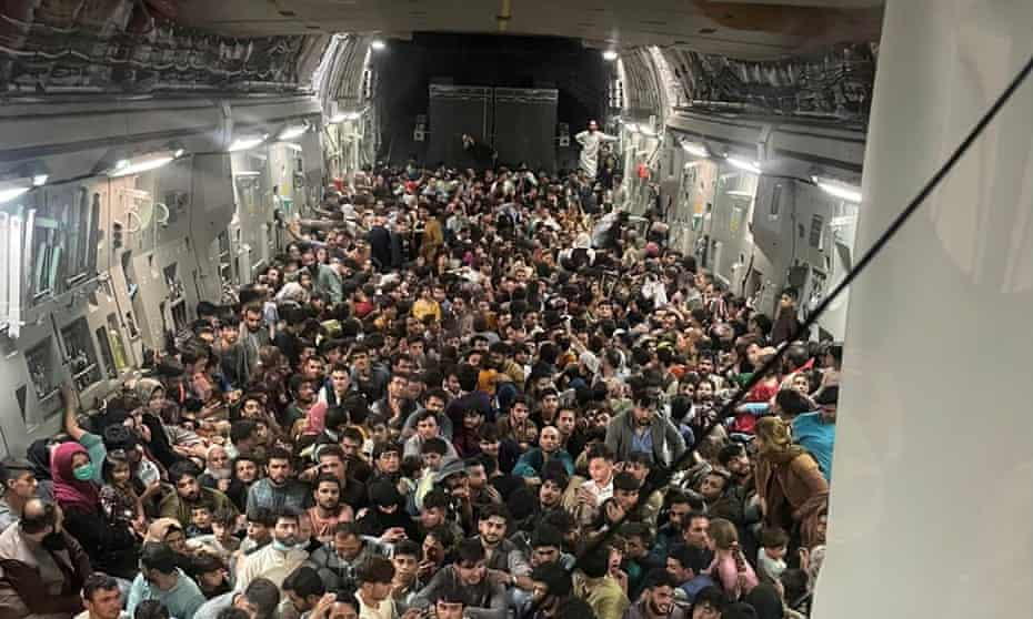 Image obtained by Defense One shows hundreds of Afghans inside a US military cargo plane