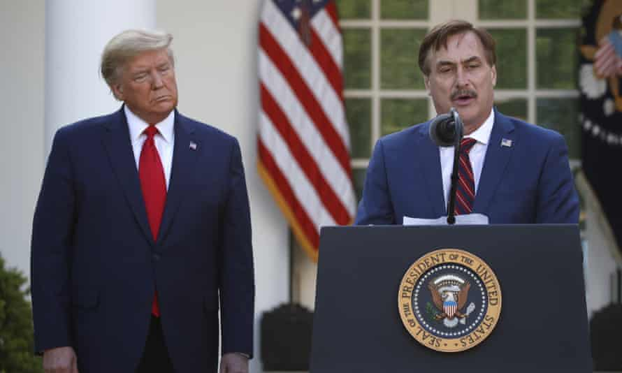 Mike Lindell. CEO of MyPillow, during a briefing about the coronavirus in the Rose Garden last year.