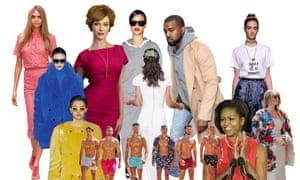 Web montage of images of (from left): Cara Delevingne; polo necks on the catwalk; Love Island; Christina Hendricks; Rihanna; Pippa Middleton; Kanye West; Michelle Obama;  slogan T-shirts; Melania Trump.