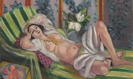 Painting of a woman reclining on a couch by Matisse