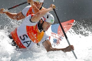 Day sixLadislav and Peter Skantar of Slovakia on their way to 1st place in the men's C2 final at X-Park Deodoro