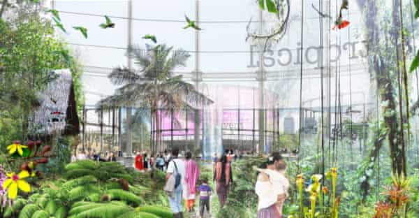 An early Lea River Park design concept included a jungle habitat in old gasholders.