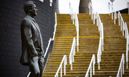 The statue of Sir Bobby Robson by the steps to the Gallowgate End at Newcastle United's St James' Park