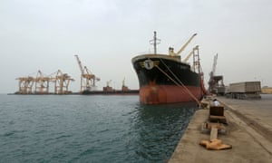 A ship docked at the port of Hodeidah