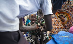 Mother and child at Abiriu Primary Health Care Centre, Western Lakes State, South Sudan.