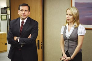Steve Carell as Michael Scott and Amy Ryan as Holly Flax in The Office (US)