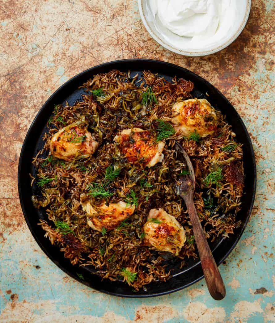 Yotam Ottolenghi's allspice chicken and rice with dill and yoghurt.