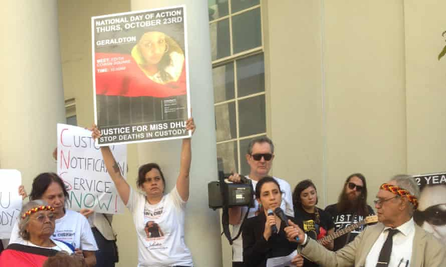 Family and supporters of a 22-year-old Indigenous woman known as Ms Dhu demand justice outside the inquest examining her death in custody.