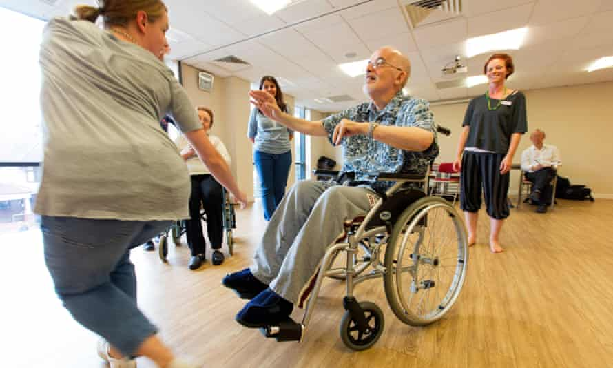 Stephen Weinstein, centre, taking part in a dance therapy workshop for older people.