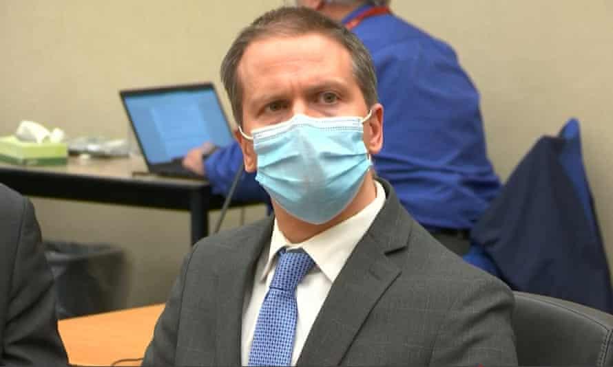 Derek Chauvin listening to the verdict in his trial