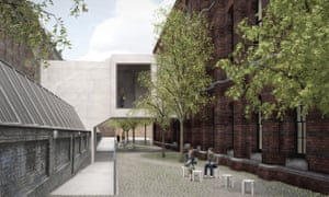 A visualisation of the Link Bridge viewed from the RA Schools courtyard.