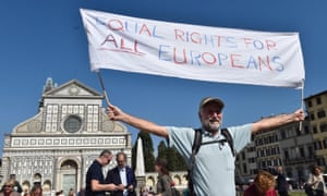 A protest in Florence by UK citizens living in Italy.