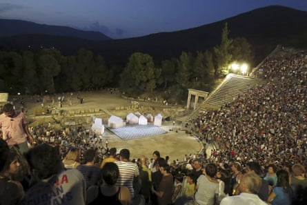A performance of Aristophanes's 2,400-year-old play Ecclesiazusae at the ancient Greek amphitheatre of Epidaurus in August 2015