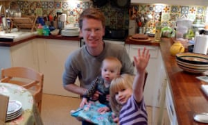 'I did imagine my time at home to be more freewheeling than it turned out' … Mike Higgins with his daughters.