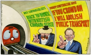 Steve Bell cartoon 14/05/20: posters on London underground featuring contradictory messages from Johnson and Shapps