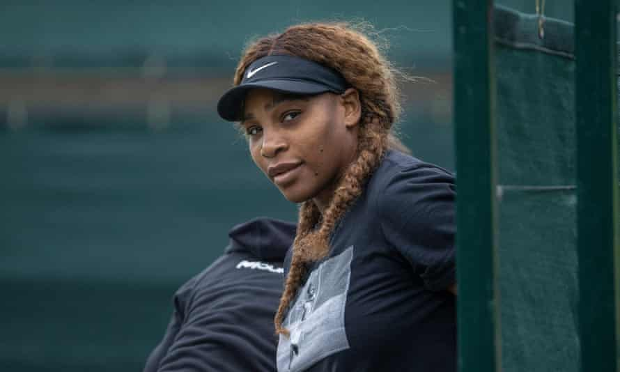 Serena Williams getting ready to for a practice session at Wimbledon on Sunday.