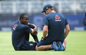 Archer chats with physio Craig de Weyman during the Test series with South Africa.
