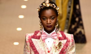 A model presents a creation by Dolce & Gabbana from the autumn/winter 2018 collection at Milan fashion week