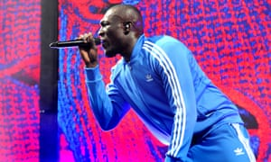 Stormzy performs at Glastonbury in 2017.