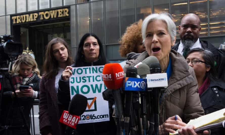 Jill Stein speaks at a news conference in front of Trump Tower as she discusses her presidential recount efforts.