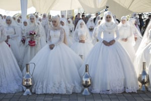Grozny, RussiaAll in white, 199 brides gather in Tsvetochny Park to celebrate the city's 199th birthday