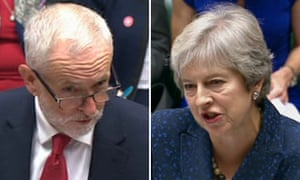 Theresa May and Jeremy Corbyn pictured at PMQs