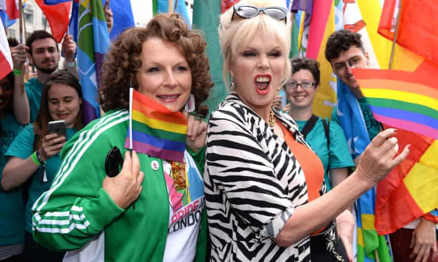 Jennifer Saunders and Joanna Lumley joined the Pride parade to promote Absolutely Fabulous: The Movie.