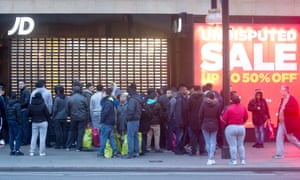 Boxing Day shoppers queue on London's Oxford Street