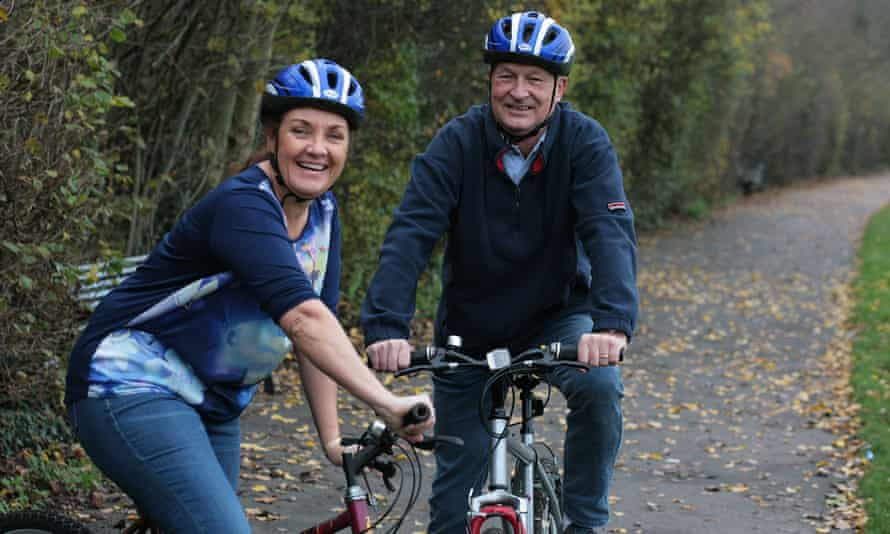Elaine and Paul Eager. Paul who has early onset dementia, is still physically fit and enjoys walking his dog and cycling.