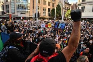 Demonstrators at the Black Lives Matter protest in Sydney.