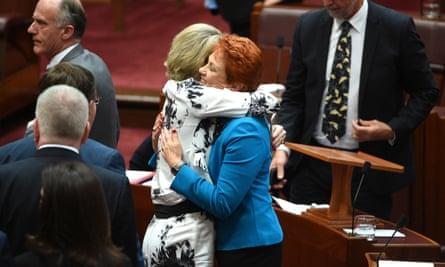 Michaelia Cash hugs Pauline Hanson