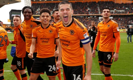 Wolves captain Conor Coady and his team-mates celebrate after the win over Birmingham