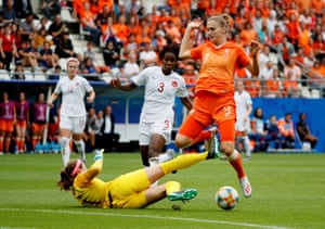 Netherlands' Vivianne Miedema is thwarted by Canada's keeper Stephanie Labbe.