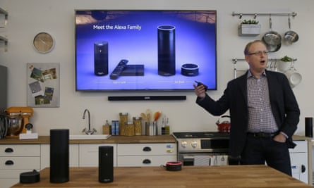 David Limp, Amazon senior vice president of devices, speaks about Alexa family devices, such as the Amazon Tap and Echo Dot, in San Francisco.