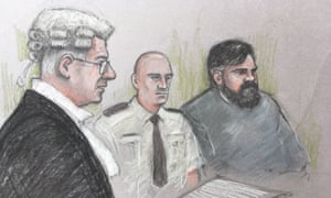 Court sketch of Carl Beech and Tony Badenoch QC